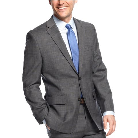 Greg Norman Mens Plaid Two Button Blazer Jacket