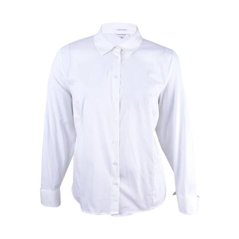 Calvin Klein Women's Plus Fit Solutions Wrinkle-Resistant Shirt - White