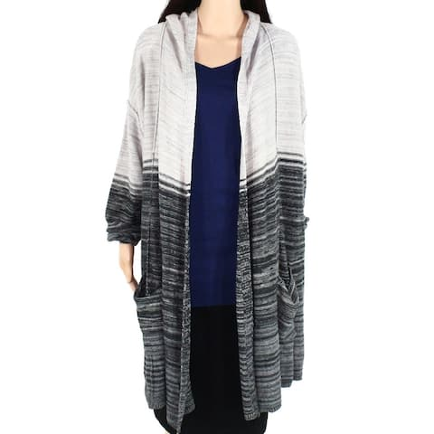 Style & Co Womens Sweater Gray Size 3X Plus Striped Two Tone Cardigan
