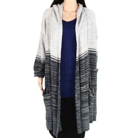 Style & Co. Women's Sweater Gray Size 2X Plus Cardigan Open Front