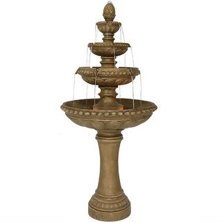 Large Outdoor Patio Electric Eggshell 4 Tier Water Fountain Feature 65in Tall