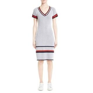 St. John Womens Two-Tone Rib Knit Sheath Dress 654