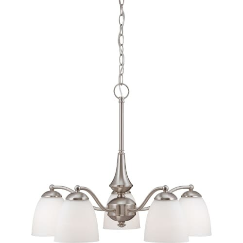 Nuvo Lighting 60/5063 Patton ES Five-Light Single-Tier Chandelier with Frosted Glass Shades