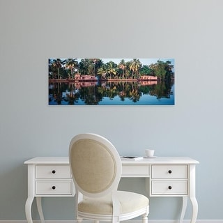 Easy Art Prints Panoramic Images's 'Houseboats on water, Kerala, India' Premium Canvas Art