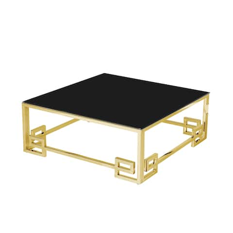 Stainless Steel Cocktail Table,Gold/Black Glass