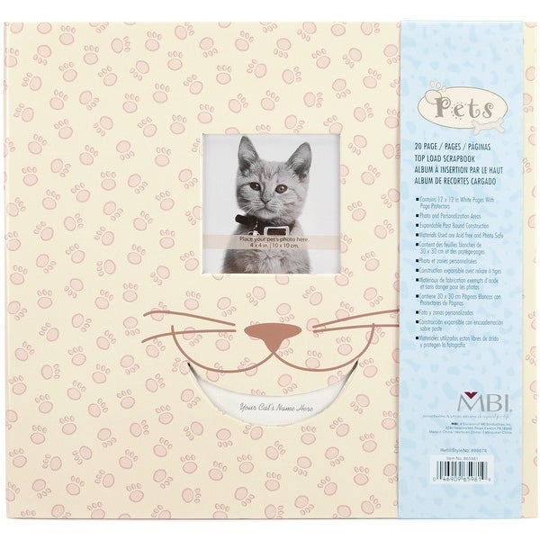 "MBI Pet Post Bound Album W/Window 12""X12""-Cat"