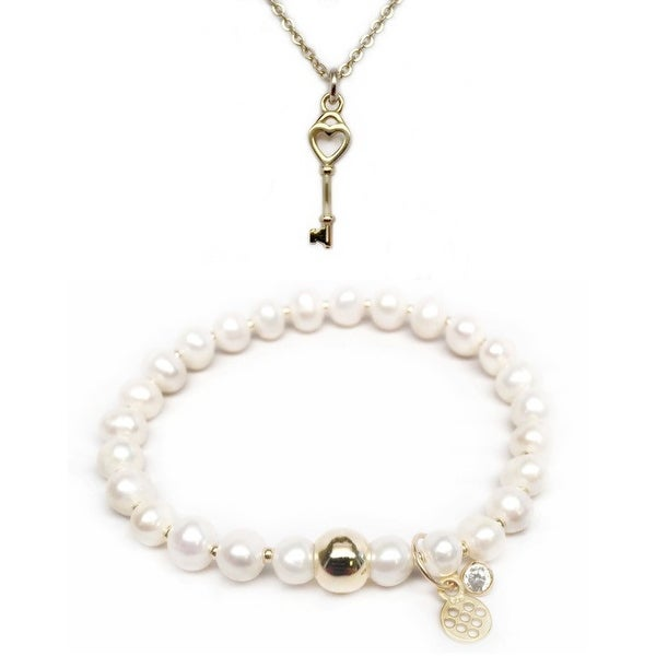 Freshwater Pearl Bracelet & Key To My Heart Gold Charm Necklace Set