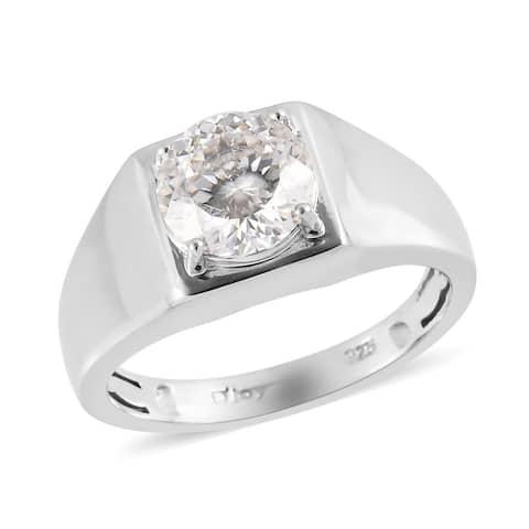 925 Sterling Silver Moissanite Ring Platinum Over Men Size 12 Ct 1.9