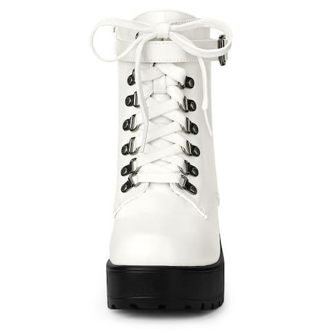Allegra K Women's Zip Chunky Heel Platform Ankle Combat Boots
