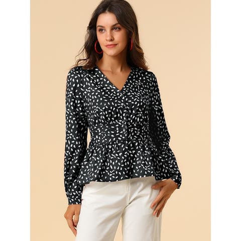 Women's Elegant Dots V Neck Long Sleeve Top Button Peplum Blouse