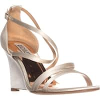 Badgley Mischka Bonanza Wedge Evening Sandals, Ivory