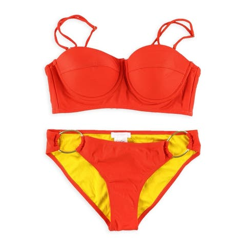 Jessica Simpson Womens Push Up Side Ring 2 Piece Bandeau
