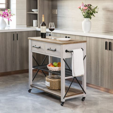 Aurora Farmhouse Kitchen Cart, Wood, 31.5 x 16 x 31.5 in, American Designed