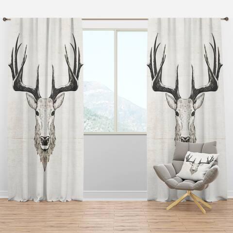 Designart 'Deer Wild and Beautiful VII' Farmhouse Blackout Curtain Panel