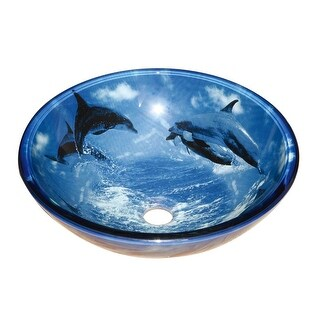Tempered Glass Vessel Sink with Drain, Dolphin Design Blue Bowl Sink