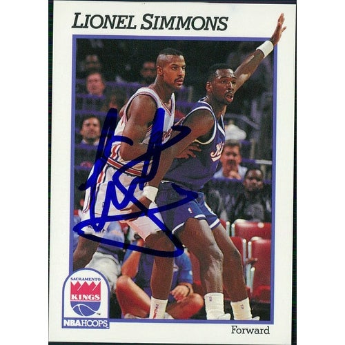 official photos 73857 d0072 Signed Simmons Lionel Sacramento Kings 1991 NBA Hoops Basketball Card  autographed
