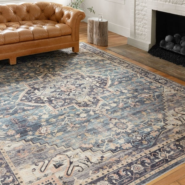 Alexander Home Venetian Printed Medallion Distressed Area Rug