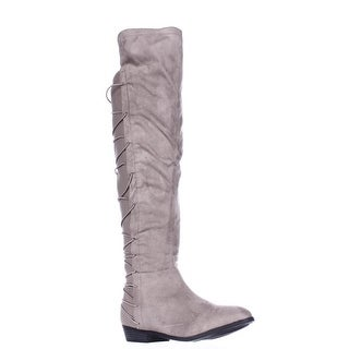 MG35 Cayln Over-the-Knee Strappy Boots - Grey