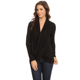 Women's Black Long Sleeve Criss Cross Cardigan Small to 3XL Made in USA