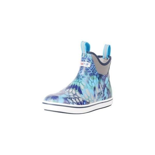 "Xtratuf Men's 6"" Blue Kryptek Ankle Deck Boots w/ Chevron Outsole - Size 9"