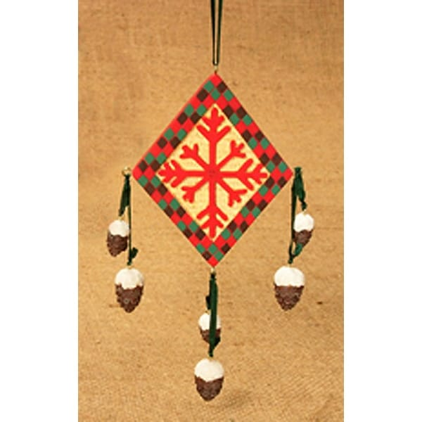 "6"" Rustic Lodge Southwestern Snowflake Diamond Christmas Ornament #W3564"