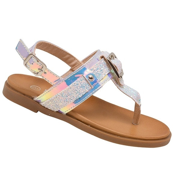 e8dcbfc1c92e Shop Girls White Glitter Buckle Stud Decorated Thong Strap Sandals - Free  Shipping On Orders Over  45 - Overstock - 25600401