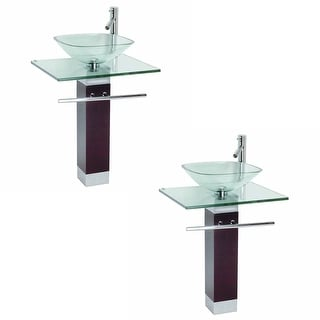 Tempered Glass Pedestal Sink Chrome Faucet Towel Bar & Drain Pack of 2 - Clear - 1