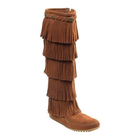 Minnetonka Women's 5 Layer Fringe Boot Brown Suede
