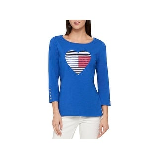 Tommy Hilfiger Womens Casual Top Studded Graphic