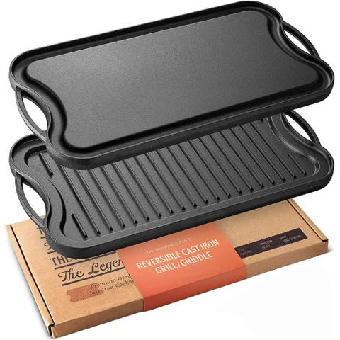 "Legend Cast Iron 20"" Griddle for Gas Stovetop Lightly Pre-Seasoned - 20x10x1"