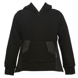 Little Girls Black Hi-Low Front Patch Detail Hooded Long Sleeved Top 4