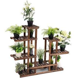 Costway 6Tier 13 Pots Wooden Plant Flower Display Stand Wood Shelf Storage Rack Garden - as pic