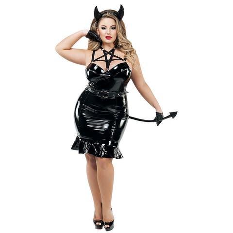 Plus Size Heavy Metal Devil Costume - Black