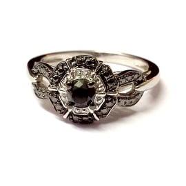Beautiful 0.34 Carat Genuine Black Diamond With Diamond Effect Engagement Ring