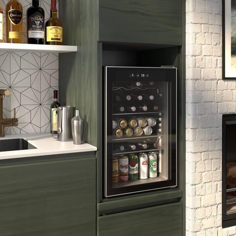 Okada 126 Can or 37 Bottles Beverage refrigerator or Wine Cooler with Glass Door for Beer, soda or Wine-Drink Freezer for Party