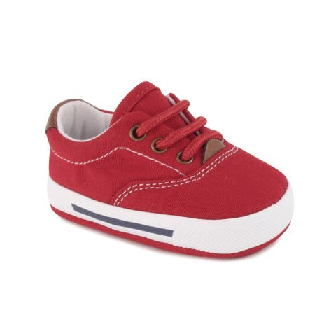 Baby Deer Boys Red Canvas Lace-Up Soft Sole Casual Sneakers