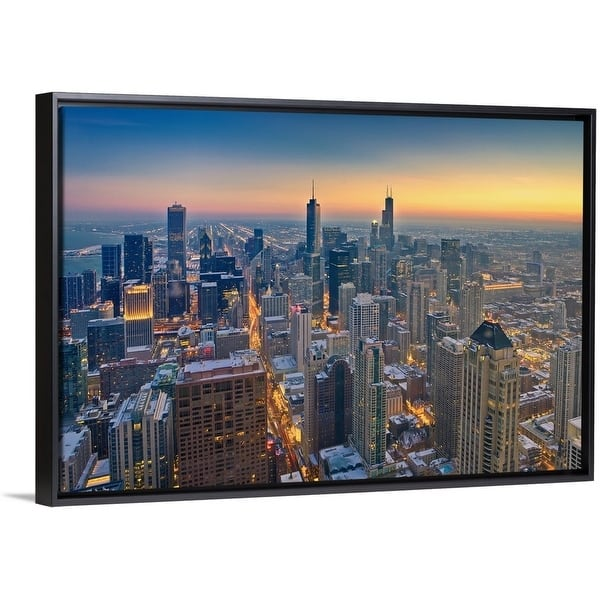 Shop Chicago Skyline In Blue Hour Multi Color Free Shipping