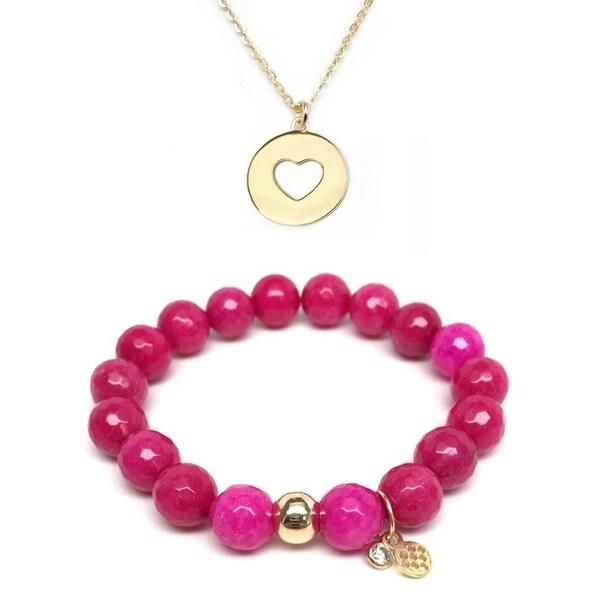 """Fuchsia Quartz 7"""" Bracelet & Heart Disc Gold Charm Necklace Set"""