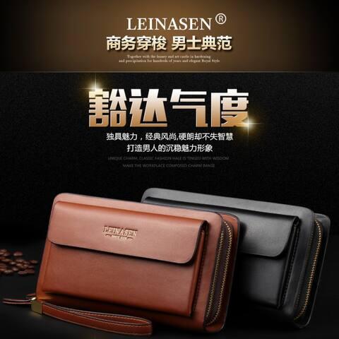 Pu Double Zipper Handbag Men's Business Bag
