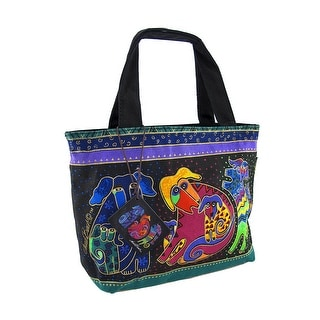 Laurel Burch `Dog And Doggies` Small Tote Bag Purse - Black