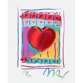"""Heart Series II, Ltd Ed Lithograph (Mini 5"""" x 4""""), Peter Max"""
