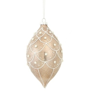 """6"""" Victorian Style Pearl Accented Faux Crackle Finish Champagne Glass Christmas Finial Ornament"""