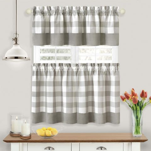 Hunter Window Curtain Tier Pair and Valance Set