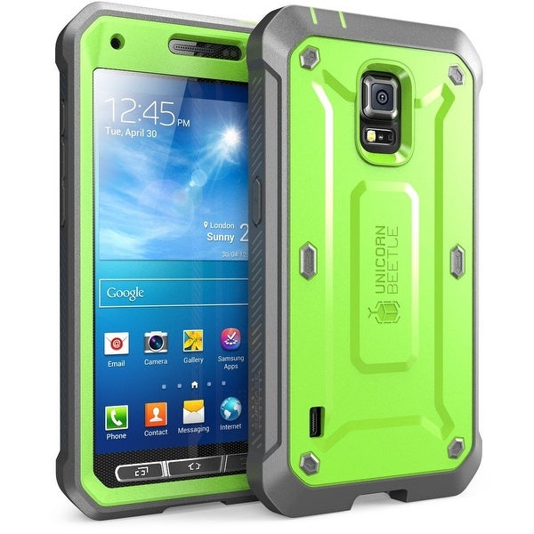 Galaxy S5 Active Case, SUPCASE Unicorn Beetle PRO Series, Full-body Hybrid Case with Screen Protector-Green/Gray