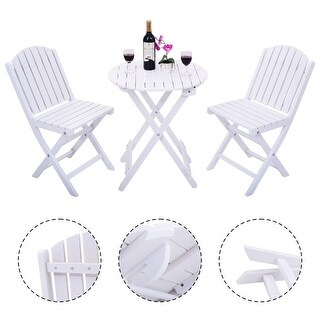 Costway 3 Piece Folding Table Chair Set Wood Outdoor Patio Garden Pool Furniture White