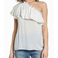 Hinge White Ruffled One-Shoulder Women's Size XS Top Blouse
