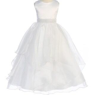 Flower Girl Dress Asymmetric Ruffles Satin & Organza White CB 302