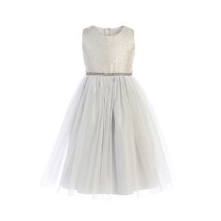 Sweet Kids Girls Silver Ornate Brocade Crystal Tulle Christmas Dress