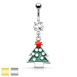 "Christmas Tree Dangle Belly Button Navel Ring - 14GA - 3/8"" Long"