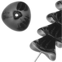 Czech Glass Beads Three Petal Flower 12mm Opaque Jet Black (12)